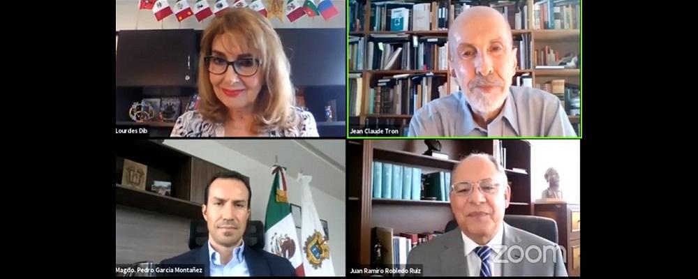 """MAGISTRADA PRESIDENTA DEL TRIBUNAL DE JUSTICIA ADMINISTRATIVA DEL ESTADO DE PUEBLA, MODERA CONFERENCIA MAGISTRAL """"CONTROL JUDICIAL DE LA DISCRECIONALIDAD EN ÉPOCAS DE EMERGENCIA"""" IMPARTIDA POR EL MAGISTRADO JEAN CLAUDE TRON PETIT, EN MODALIDAD A DISTANCIA."""